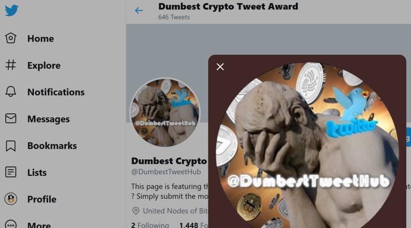 the dumbest crypto tweet award